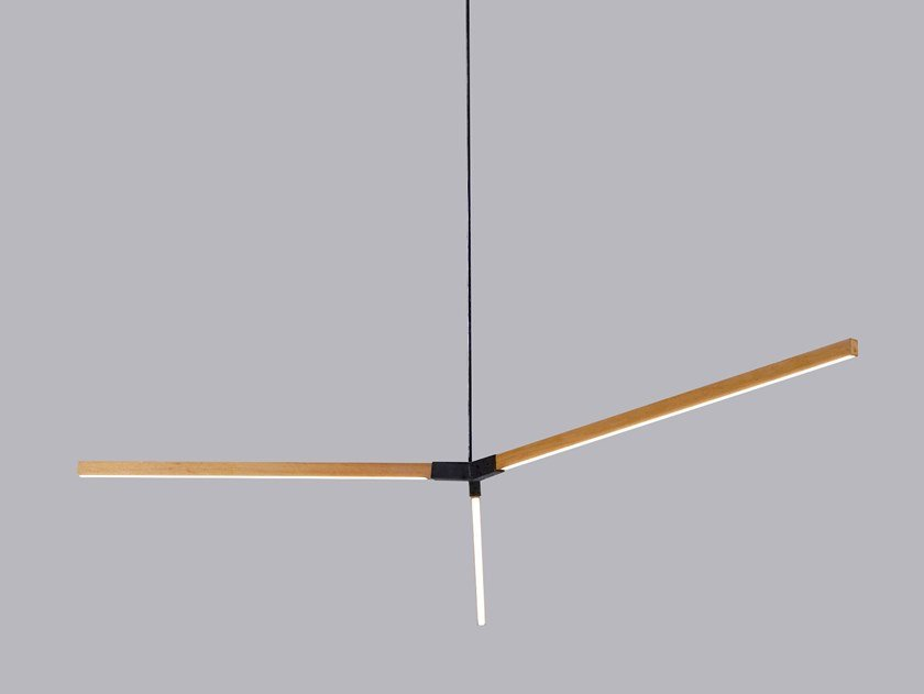 LED wooden pendant lamp MIDDLE BOUGH by Stickbulb