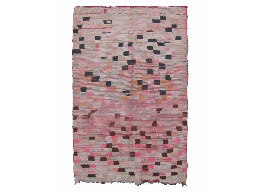 Patterned long pile rectangular wool rug BOUJAD TA521BE by AFOLKI