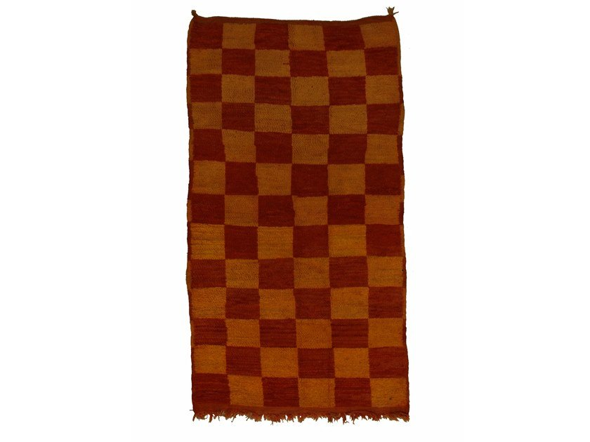 Long pile rectangular wool rug with geometric shapes BOUJAD TAA1016BE by AFOLKI