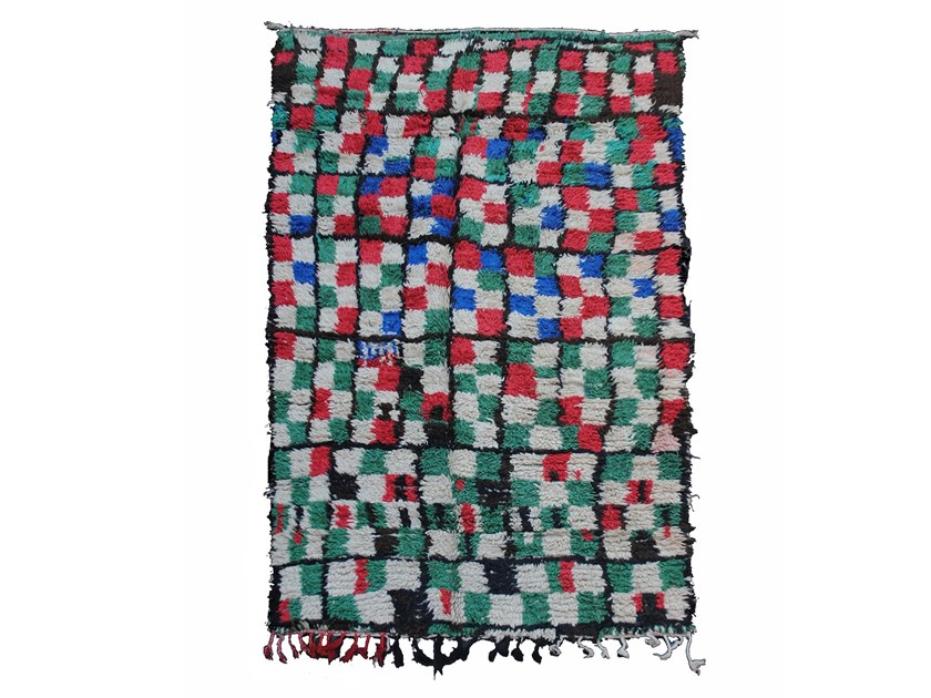 Long pile rectangular wool rug with geometric shapes BOUJAD TAA104BE by AFOLKI