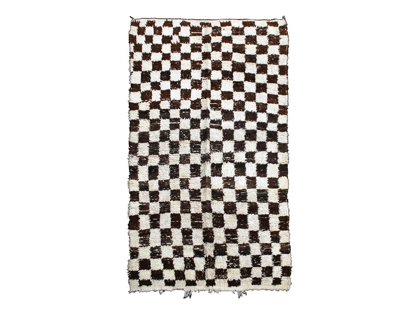 Long pile rectangular wool rug with geometric shapes BOUJAD TAA190BE by AFOLKI