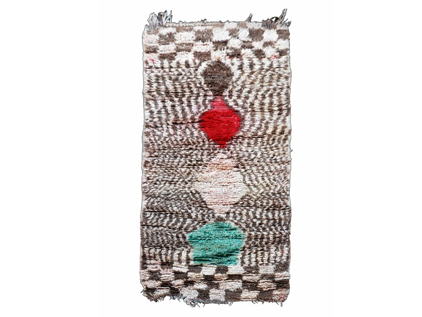 Patterned long pile rectangular wool rug BOUJAD TAA220BE by AFOLKI