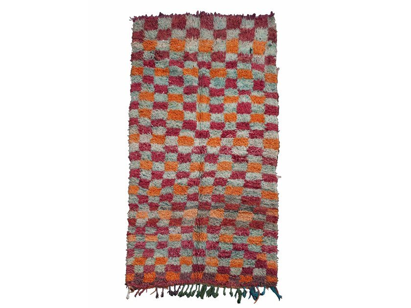 Long pile rectangular wool rug with geometric shapes BOUJAD TAA369BE by AFOLKI