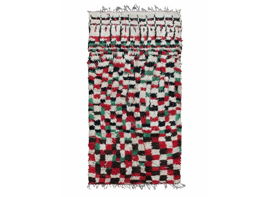 Long pile rectangular wool rug with geometric shapes BOUJAD TAA384BE by AFOLKI
