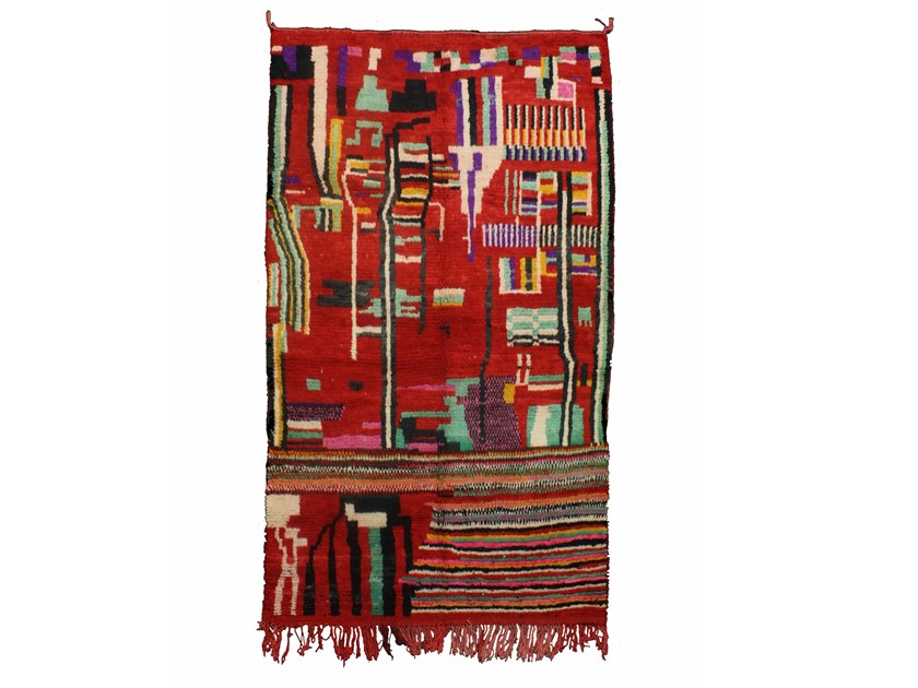 Patterned long pile rectangular wool rug BOUJAD TAA857BE by AFOLKI