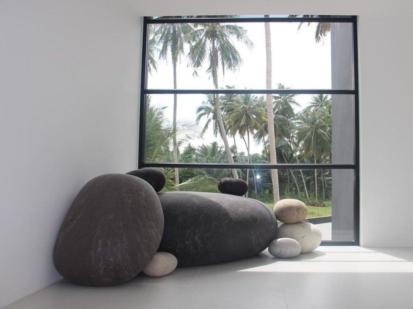 Wool felt pouf Boulders by Ronel Jordaan