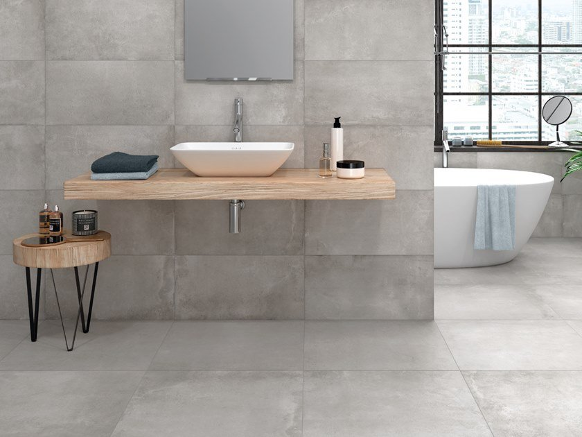 Porcelain stoneware wall/floor tiles with concrete effect BOULEVARD by Aleluia Cerâmicas