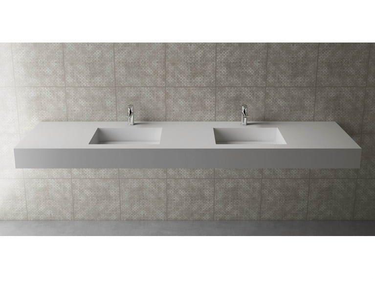 Double rectangular wall-mounted washbasin BOX 150 B453 DOPPIO by Flora Style