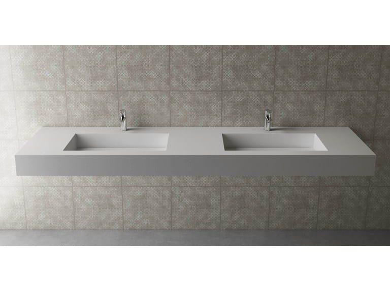 Double rectangular wall-mounted washbasin BOX 150 B455 DOPPIO by Flora Style