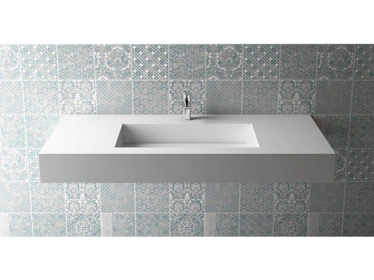 Rectangular wall-mounted washbasin BOX 150 B455 by Flora Style