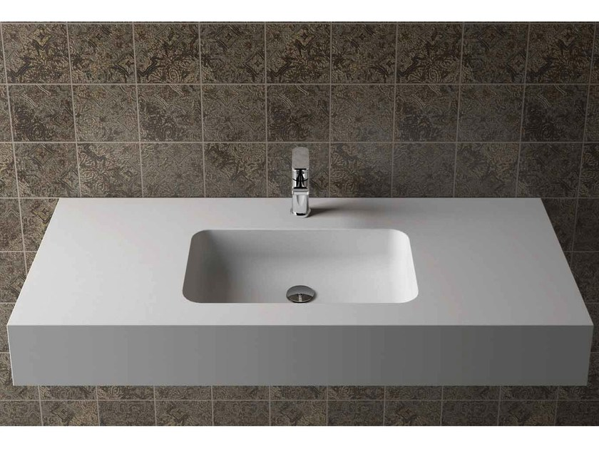 Rectangular wall-mounted washbasin with integrated countertop BOX 150 MK 50 by Flora Style