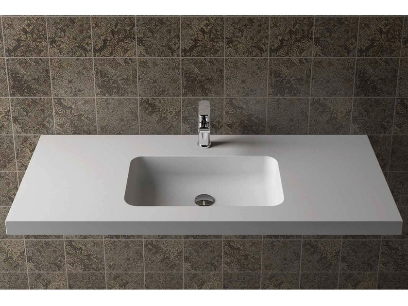Rectangular wall-mounted washbasin with integrated countertop BOX 50 MK 50 by Flora Style