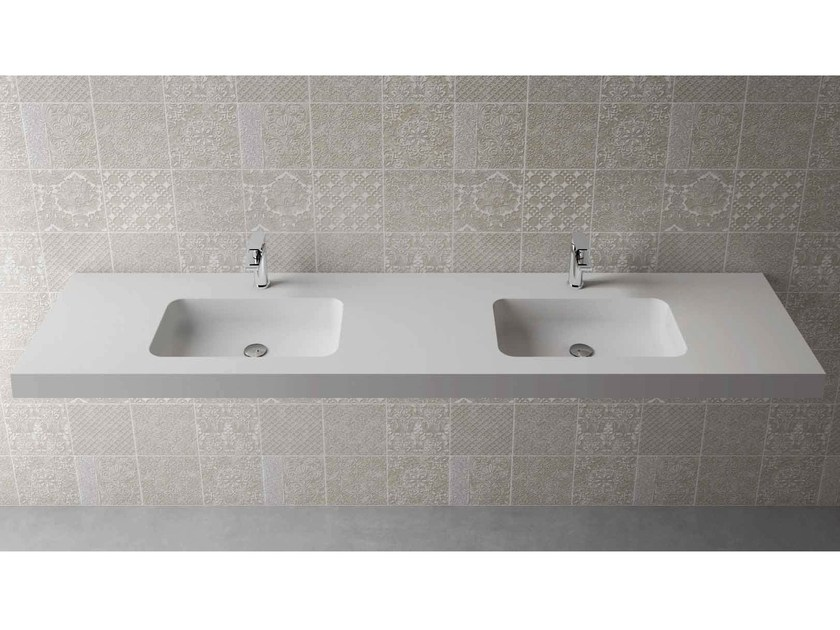 Rectangular wall-mounted washbasin with integrated countertop BOX 75 MK 50 DOPPIO by Flora Style