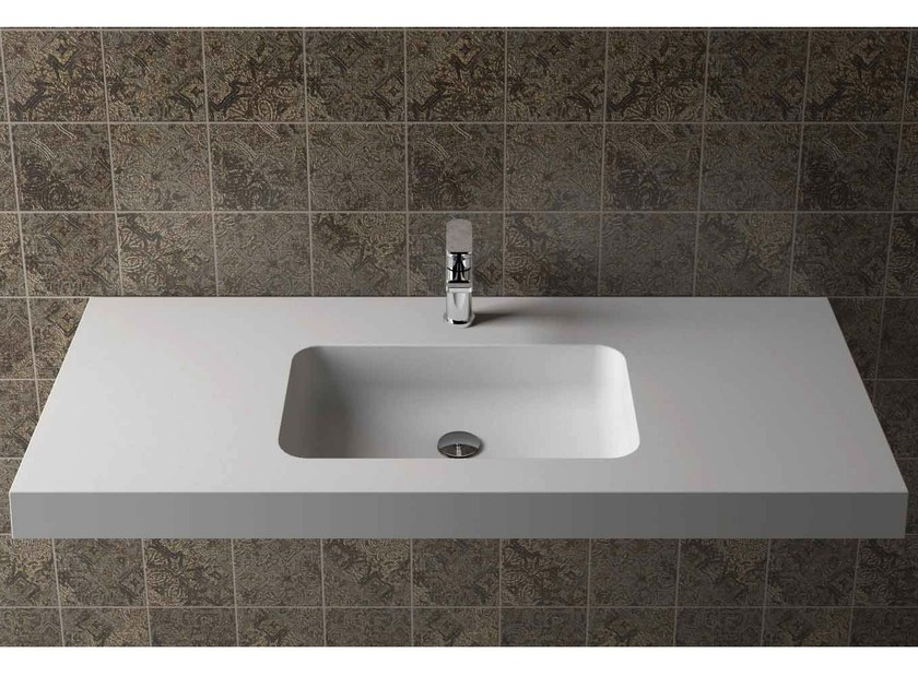 Rectangular wall-mounted washbasin with integrated countertop BOX 75 MK 50 by Flora Style