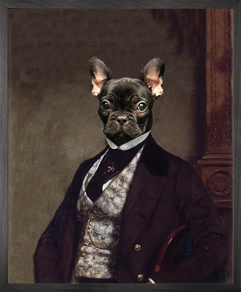 Stampa su tela PORTRAIT OF FRENCH BULLDOG by Mineheart