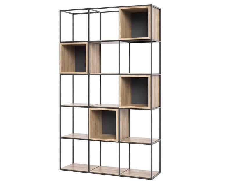 Open steel and wood bookcase BOXER by take me HOME