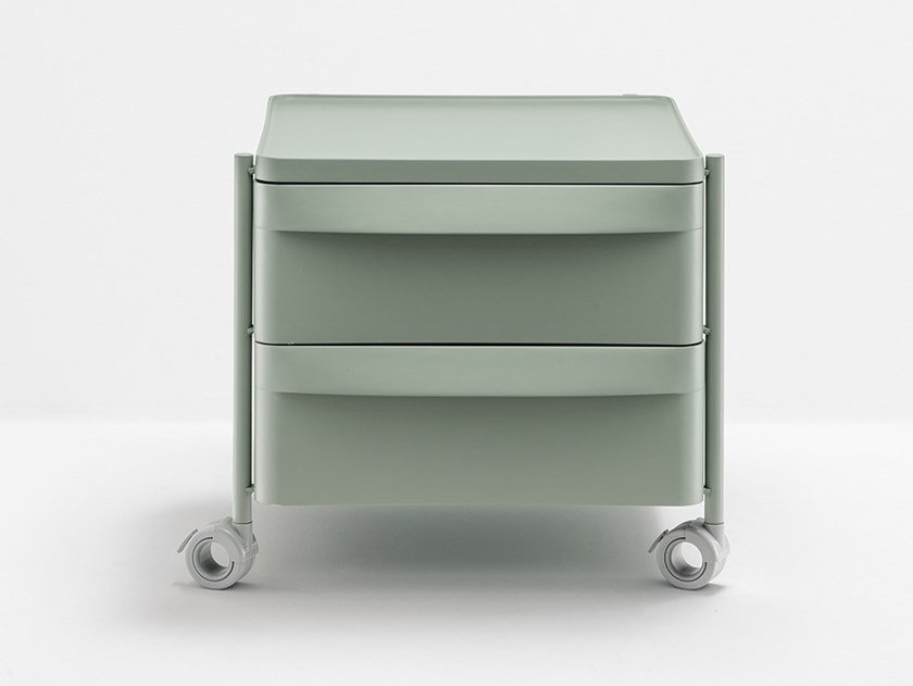 Polypropylene office drawer unit with castors BOXIE BXL 2C by PEDRALI