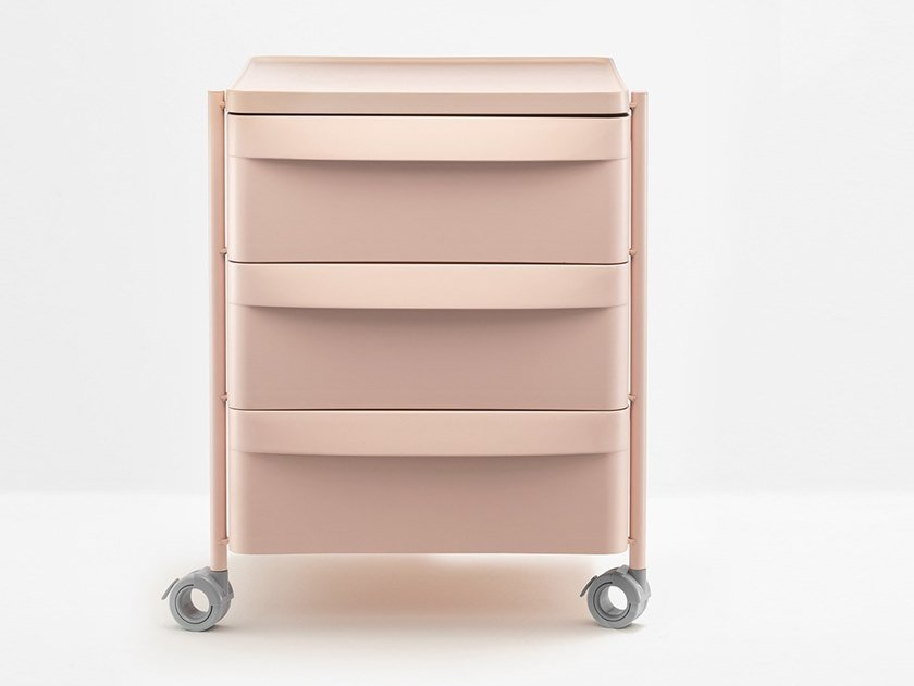 Polypropylene office drawer unit with castors BOXIE BXM 3C by PEDRALI