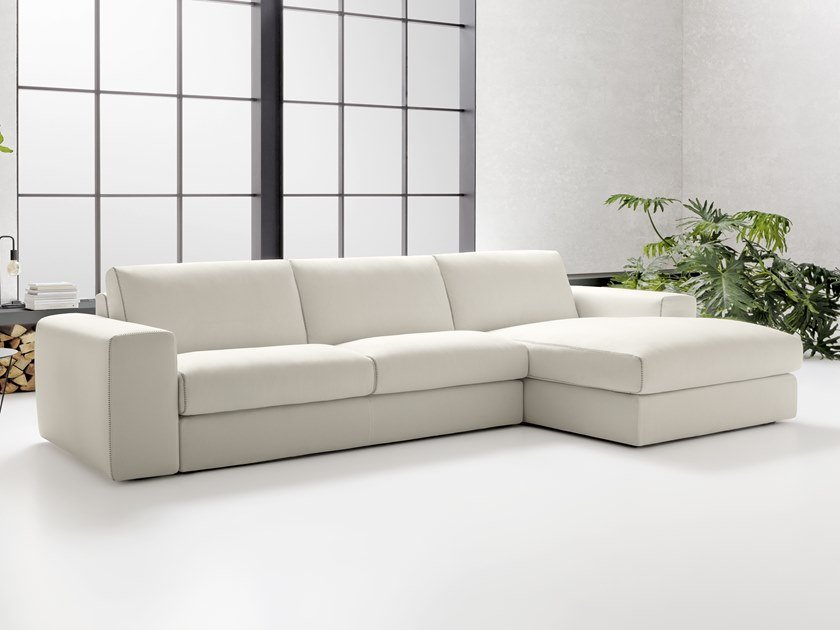 Contemporary style 4 seater upholstered fabric sofa with chaise longue BRADLEY | Sofa with chaise longue by Felis