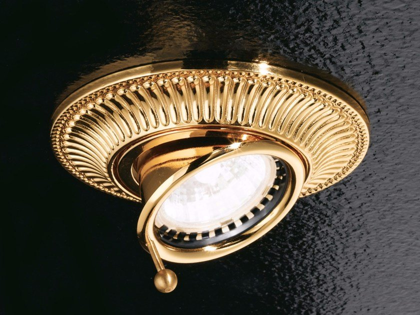 Semi-inset adjustable ceiling brass spotlight BRASS & SPOTS VE 854 by Masiero
