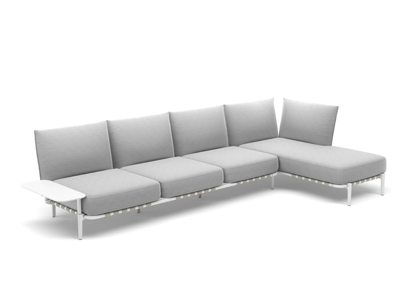 4 seater fabric sofa with removable cover with chaise longue BREA | 4 seater sofa by DEDON