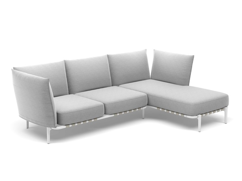 3 seater fabric sofa with removable cover with chaise longue BREA   Sofa with chaise longue by DEDON