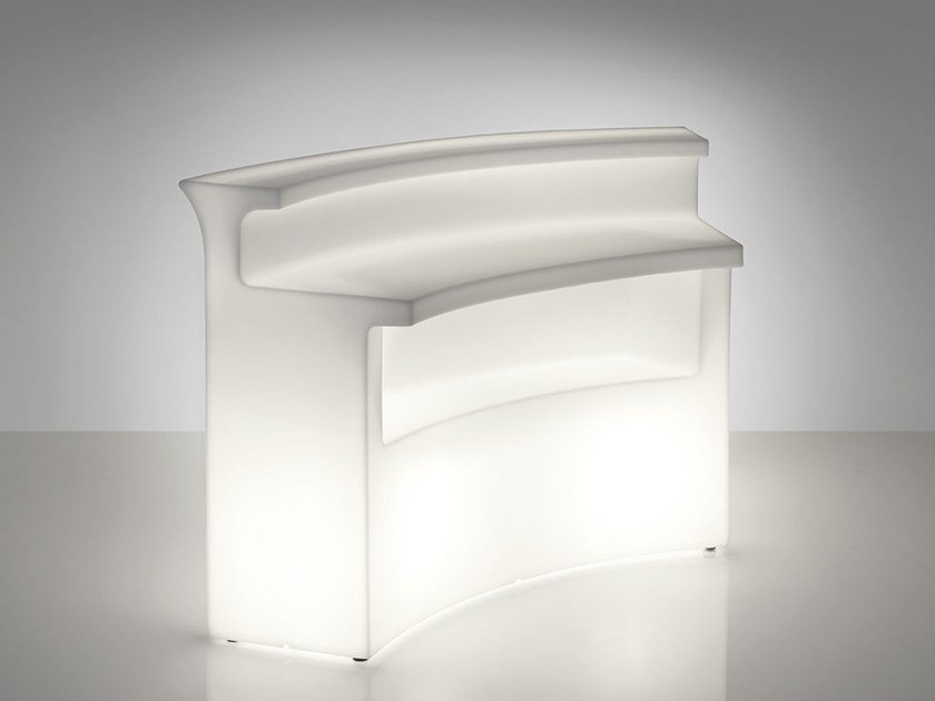 Illuminated outdoor polyethylene bar counter BREAK BAR by SLIDE