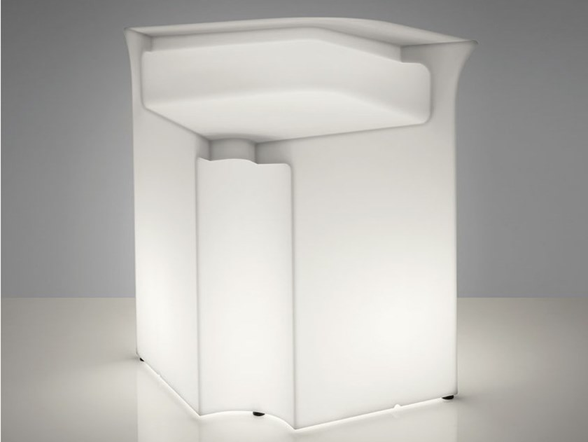 Illuminated outdoor polyethylene bar counter BREAK CORNER by SLIDE