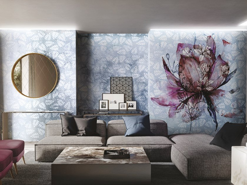 Panoramic wallpaper with floral pattern BREEZE by Inkiostro Bianco