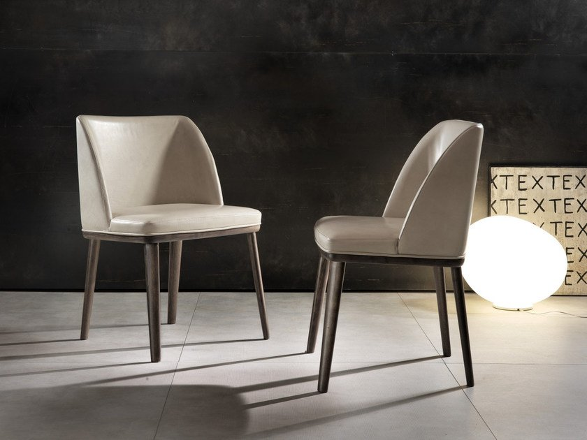 Upholstered leather chair BRENDA by Pacini & Cappellini