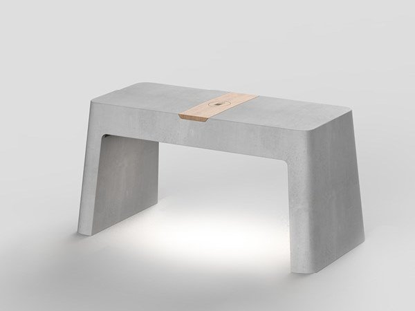 Cement Bench with Integrated Lighting BRENTA | Bench by Neri