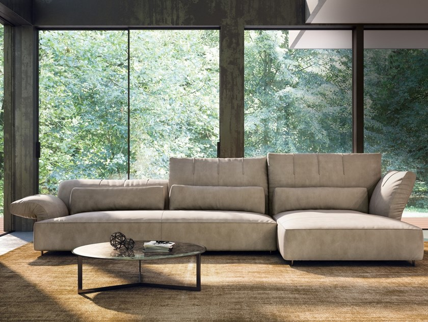 Sectional leather sofa BRERA | Sofa with chaise longue by NICOLINE
