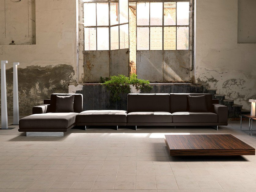 Fabric sofa with chaise longue BRESSON | Sofa with chaise longue by Domingo Salotti