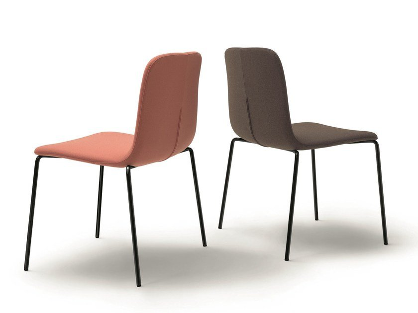 Upholstered stackable fabric chair BRIANZA | Chair by arflex