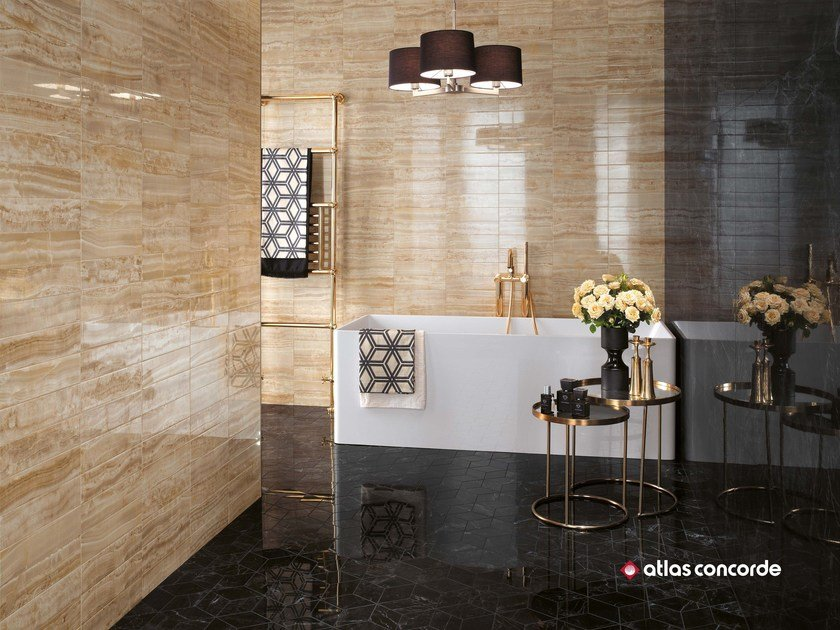 White-paste wall tiles with marble effect BRICK ATELIER by Atlas Concorde