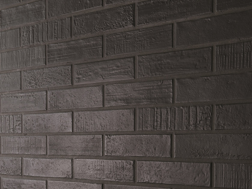 Indoor porcelain stoneware wall/floor tiles with brick effect BRICK DESIGN CARBONE by EmilCeramica by Emilgroup