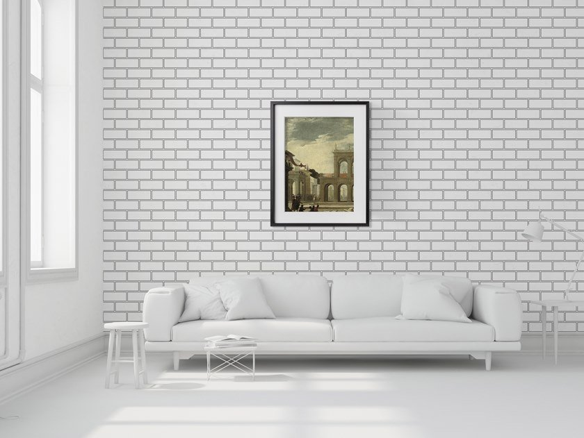 Non-woven paper wallpaper BRICK OUTLINE by Mineheart