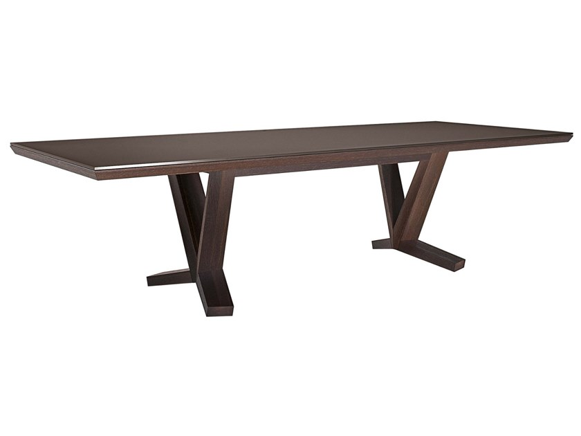 5bfebd2528 Rectangular wood and glass table BRIDGE By JESSE design Sergio ...
