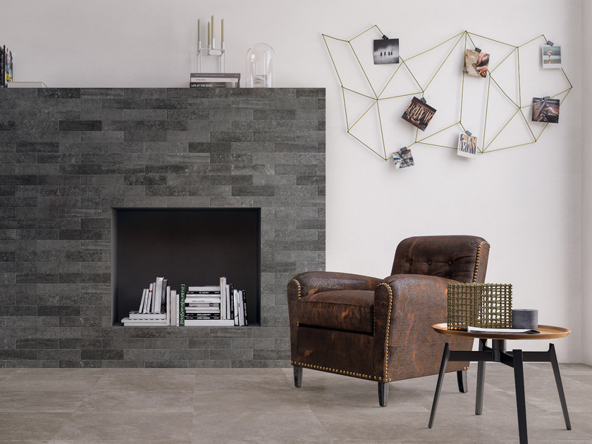 Porcelain stoneware wall/floor tiles BRIK BACK ANTHRACITE by CERAMICHE KEOPE