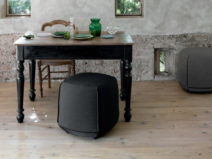 Upholstered fabric pouf BRIONI   Pouf by Kristalia