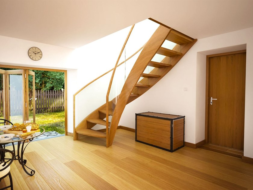 Wood and glass Open staircase with lateral stringers BRISTOL by Siller Treppen