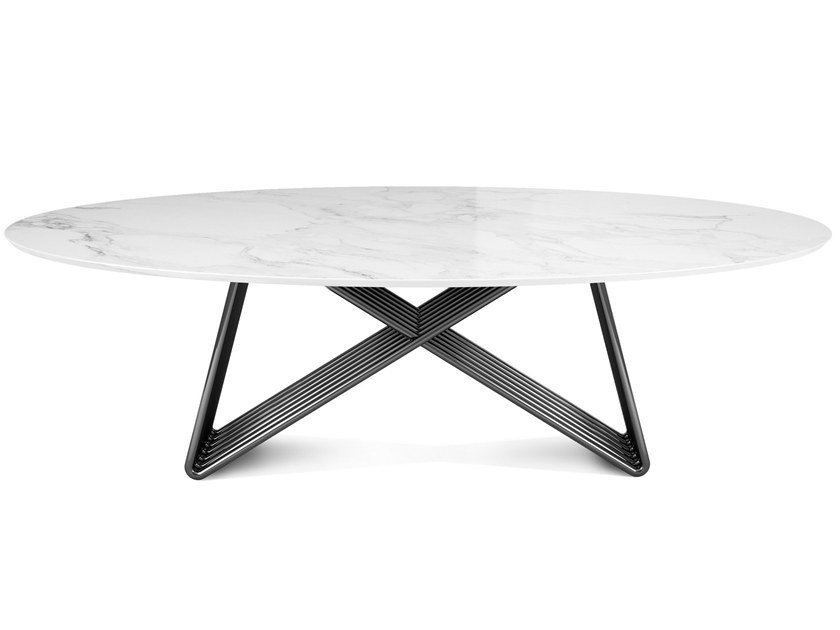 Oval marble dining table BROAD by Porustudio