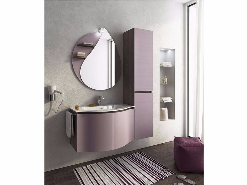 Single wall-mounted vanity unit with doors BROADWAY B8 by LEGNOBAGNO