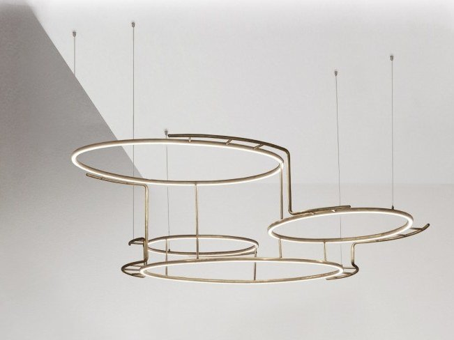 LED brass pendant lamp BROCHE by DCW éditions