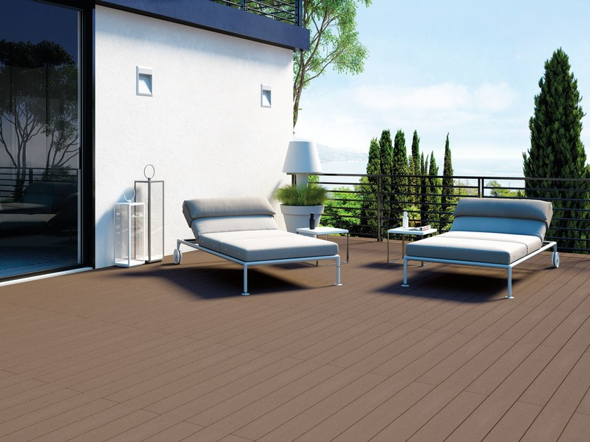 Composite material outdoor floor tiles with wood effect EXTERNO BROWN by Woodco