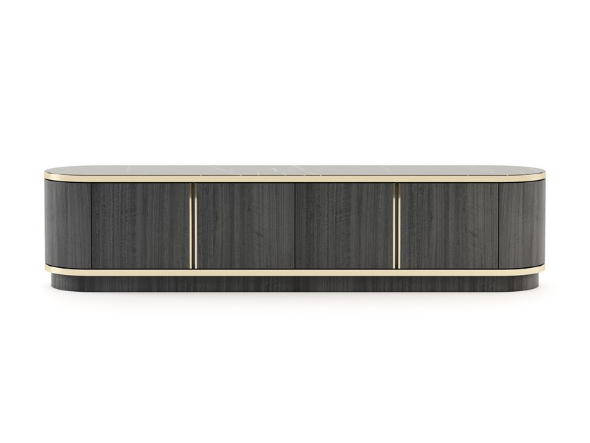 Wooden TV cabinet with doors BROWN | TV cabinet by Laskasas