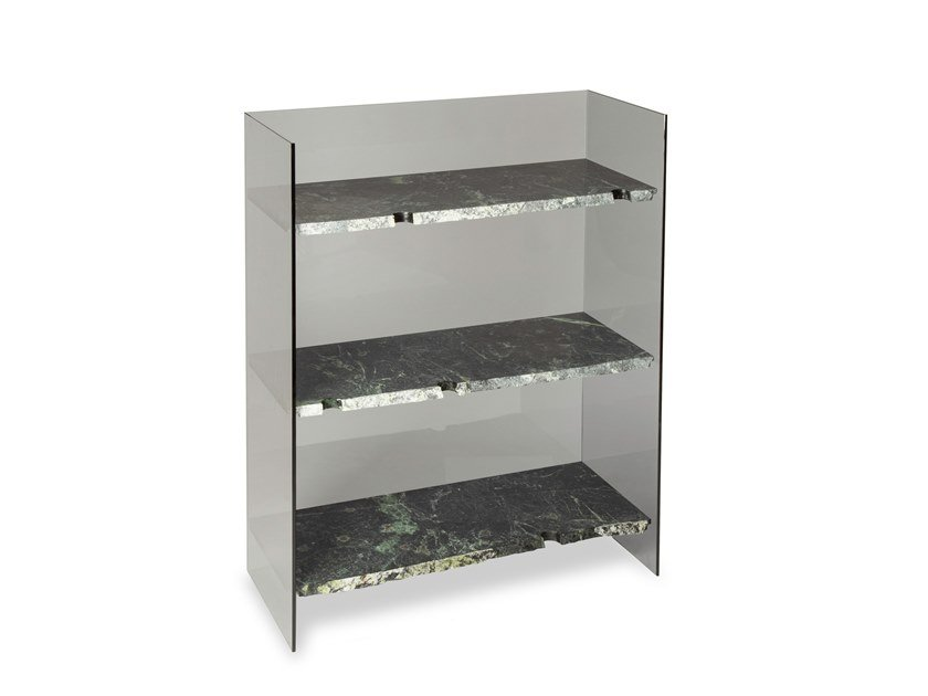 Open glass and marble bookcase BRUT by pulpo