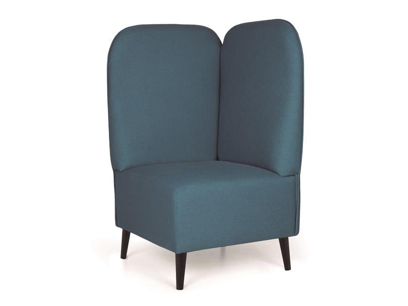 Corner fabric armchair BUBBLE LOW CORNER METAL by Fenabel