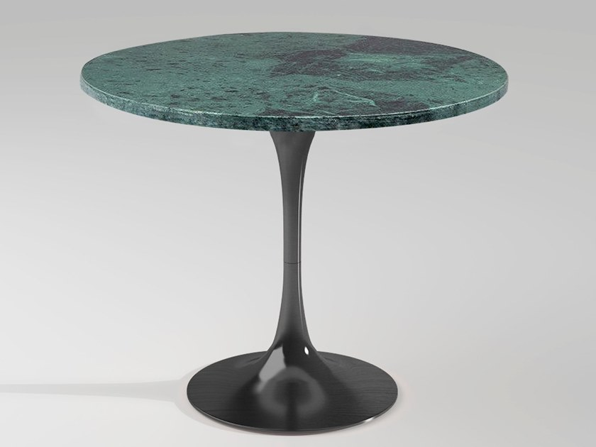 Round Green Guatemala marble high side table BUENOS AIRES | Marble coffee table by Emotional Projects