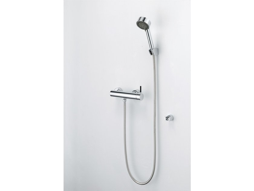 Shower mixer with hand shower, wall bracket and shower hose PAN I | Built-in shower panel by JUSTIME